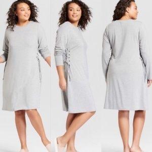 Ava & Viv Long Sleeve Side Lace Up Knit Dress